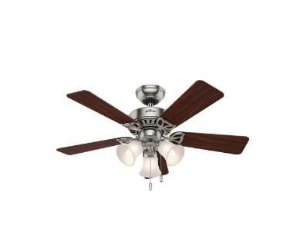Ventilador de Teto Hunter Fan Beacon Hill Níquel 5 pás com luminária 220V Hunter Fan 50831