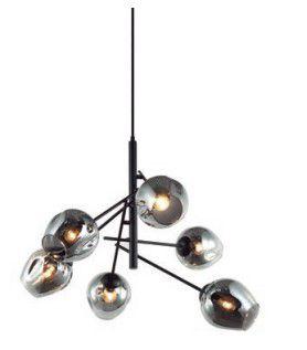 Pendente Cutie Vidro e Metal 72x60,5cm 6xE27 40W Bivolt Cor Preto Casual Light PD1331FM