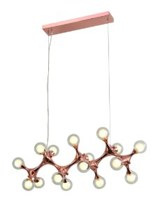 Pendente DNA Metal e Vidro 91x27x40cm 16xG9 5W Bivolt Cor Cobre Casual Light PD1298G