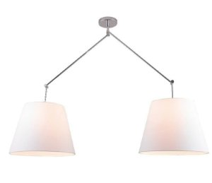 Pendente Dome Articulável Duplo Metal 118x12cm 2xE27 40W Cor Cromado Casual Ligth PD948-CR