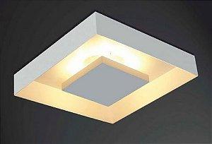 Luminária de Sobrepor Rebatedor Eclipse Quadrada E27 46x46cm Branco Itamonte 3045/46