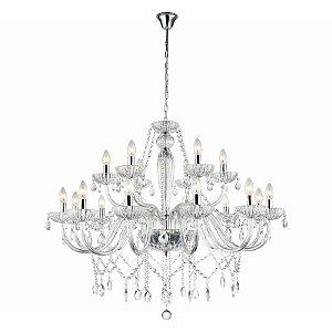 Lustre Anjou Cristal A82xC100 xD100 18xE14 Cor Cromado e Transparente Bella Iluminação JF118C