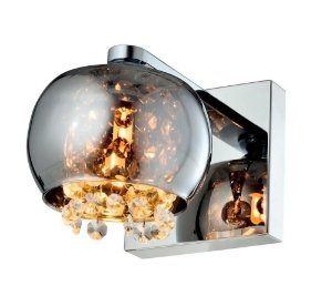 Arandela Dublin Metal Vidro e Cristal 16x13x19cm 1xG9 Cor Cromado Casual Light QAR1281-CR