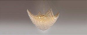 Pendente Circe Metal e Cristal Ø60cm Dourado e Transparente Stella SD9050
