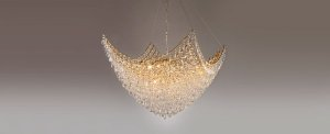 Pendente Circe Metal e Cristal Ø80cm Dourado e Transparente Stella SD9060