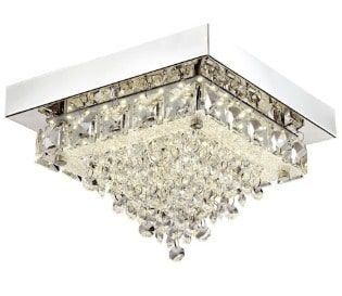 Plafon Sobrepor LED Madrid Quadrado Metal e Cristal 4000K Neutro Transparente e Cromado Quality QPL880