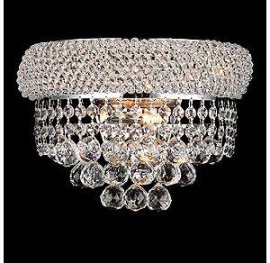 Arandela Madri 2L G9 de Cristal Império K9  Cromado e Transparente 2xG9 MAX 40W Chandelie CH012-C