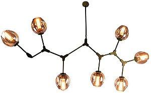 Pendente Orbe Metal e Vidro 7xE27 95x100x40 Cor Dourado e Champanhe Bella Iluminação KY001MG