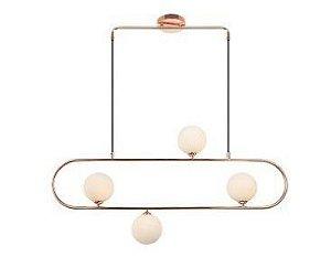 Pendente Palla Aço Ouro Rosé Vidro Opalino Itamonte PE-038/6.95OR