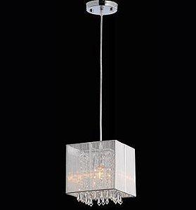 Pendente Indus Pontas de Cristal Transparente Cúpula Prata 1XE27 D20 X A22cm Arquitetizze PD5203-1.000