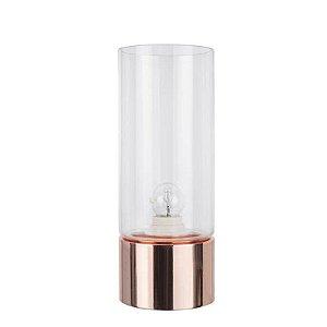 Abajur Moa Vidro  12cmX31,5cm 1XE27  Cor Cobre e Transparente Bella Iluminação CI013B