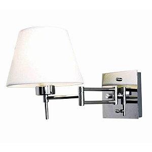 Arandela Lettura Metal e Tecido 13x12x12 1x E27 Cor Branco e Cromado Bella Iluminação VT2070