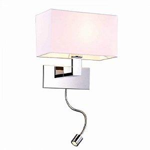Arandela Lettura Metal e Tecido 28x18x28cm  1XE27 + LED1W Cor Branco e Cromado Bella Iluminação ZU009B
