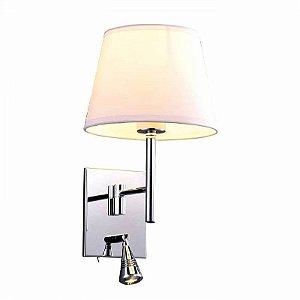 Arandela Lettura Metal e Tecido 34x20x25cm 1x E27 Cor Branco e Cromado  Bella Iluminação ZU011A