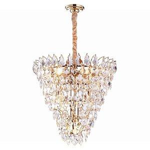 Lustre Paris Cristal Ø65  11xE14 Cor Dourado e Transparente Bella Iluminação AQ024S