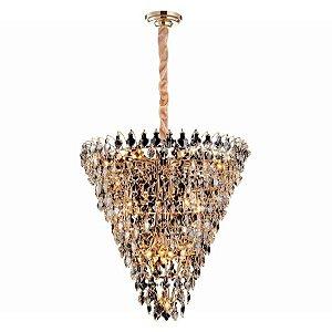 Lustre Paris Cristal 89xØ85 17xE14 Cor Dourado e Transparente Bella Iluminação AQ024L
