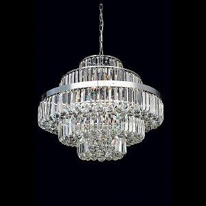 Lustre Dijon Cristal 55xØ70 12XE14 Cor Cromado e Transparente Bella Iluminação AQ009