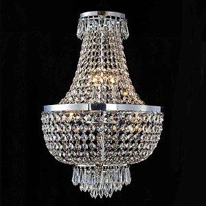 Lustre Império Cristal 62xØ40  6XE14 Cor Cromado e Transparente Bella Iluminação AQ021