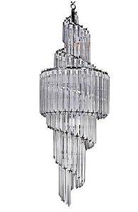 Lustre Opus Cristal 124xØ42 11XE14 Cor Cromado e Transparente Bella Iluminação BM008