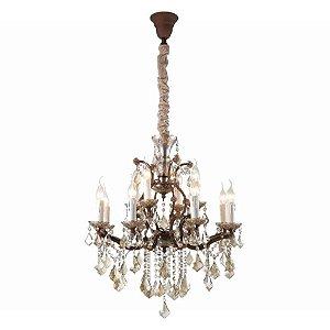 Lustre Passy Vidro 70xØ78 12xE14 Cor Conhaque, Bronze e Transparente  Bella Iluminação AQ028L