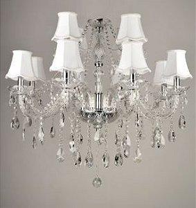 Lustre Maria Thereza Cúpula Branca Cristais Transparente 12 Braços E14 D85 x A70cm Arquitetizze LC1711-12.000
