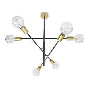 Pendente Ares Metal 63x58,5x52,5 6xE27 Cor Dourado e Preto Bella Iluminação EY001