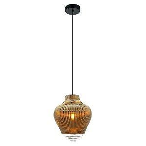 Pendente Fuzy em Metal e Vidro ø23cm x 28cm 1xE27 Cor Dourado e Transparente Bella Iluminação OP054B