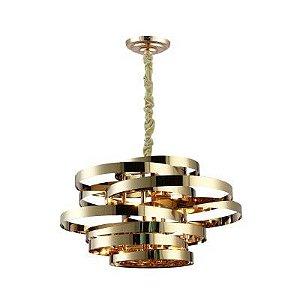 Pendente Athena Metal Ø80 5xE14  Cor Dourado Bella Iluminação AQ029