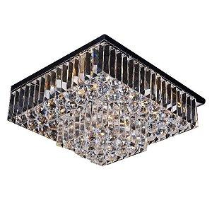 Plafon Carre em Metal e Cristal  5x40W E14 24x44x44cm Cor Cromado e Transparente Bella Iluminação AQ016