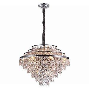 Lustre Palace Cristal Ø68 15xE14 Cor Cromado e Transparente Bella Iluminação AQ025M