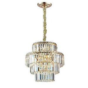 Pendente Hera Metal e Cristal Ø48 Cor Gold e Transparente Bella Iluminação AQ030G