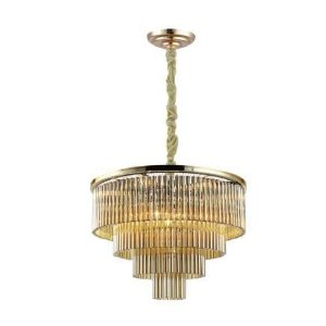 Pendente Vivi Metal e Cristal Ø60 Dourado e Transparente Bella Iluminação AQ031G