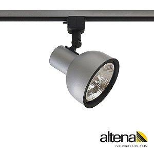 Spot Dome com Plug Altrac Para Trilho Eletrificado AR-111 GU-10 Platinado Altena ALT08011 PN