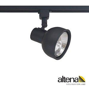 Spot Dome com Plug Altrac para Trilho Eletrificado AR-111 GU-10 Preto Fosco Altena ALT08011 PF