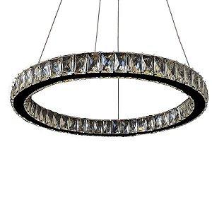 Pendente Bruxelas Led 36W 3000K de Cristal e Metal Cromado  LED MAX 36W BIVOLT Chandelie CH2047-1