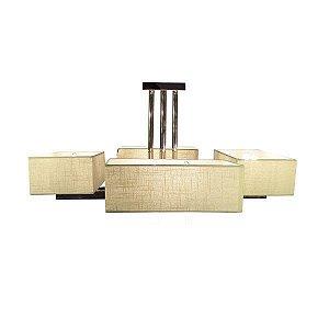 Plafon Dueto 8L E27 de Metal Cromado Cúpula de Tecido  8L. E14 MAX 40W BIVOLT Chandelie CH9008
