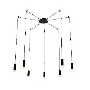 Pendente Spider Metal e Acrílico 3,6 x13cm Canopla 17cm Preto 13 Bivolt 7 x G9  Cor Preto Fosco Bella Iluminação YD009