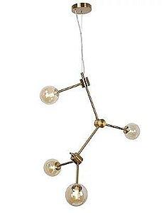 Pendente Metal Bronze/Vidro Champagne 4XG9 25W 62X71X81cm Quality PD985