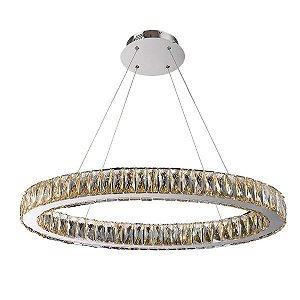 Pendente Bruxelas Led 48W 3000K de Cristal e Metal Cromado LED BIVOLT Chandeliê CH2047-2