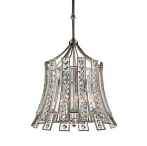 Pendente Jazz em  Metal e Cristal  56xØ56 4XE14 Cor Prata Envelhecida e Transparente Bella Iluminação AS010