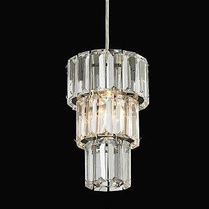Pendente Krika em Metal e Cristal 200xØ13 1XG9 Cor Cromado e Transparente Bella Iluminação BO008