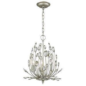 Pendente Lore Metal e Cristal Ø33 Cor Prata Envelhecida e Transparente Bella Iluminação BO010