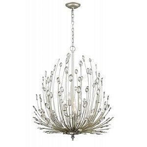Pendente Lore Metal e Cristal Ø69 Cor Prata Envelhecida e Transparente Bella Iluminação BO011