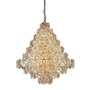Lustre Zara 95xØ80 17XE14 Cor Cobre e Transparente Bella Iluminação BM004B