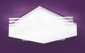 Plafon Ares Branco e Transparente 76x76cm Bellalux 160160