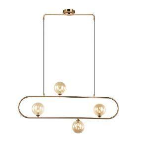 Pendente em metal bronze e cúpula de vidro champagne 95x12xA48 4 x G9 Quality PD1329BZ