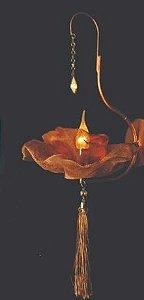 Arandela 20Øx40h Flor Tela Cobre Cristais Ambar 1lamp E27 led Helizart W 4180