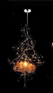 Pendente Delicato Rosa 37Ø x 80h Ferrugem Acobreado Cristais Ambar 1 lamp E27 led Helizart W 5335 B
