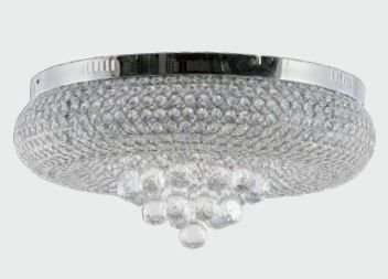 Plafon Metal + Cristal k9  9 xG9 40w  53x20cm Código 1187 Adn+ DY-470