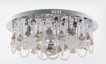 Plafon de Cristal 7 lampadas E27+ LED + Controle Remoto ø 600mm Adn+ 216(600)